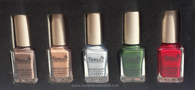 Temix Mini Nail Polishes - brown, neutral, pale blue, green, red