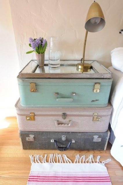 6 Tips for Travel-Inspired Décor; repurpose old suitcases