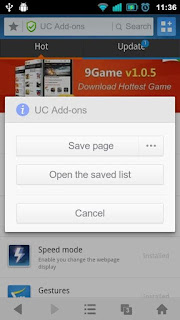 Save Page in UC Browser Android