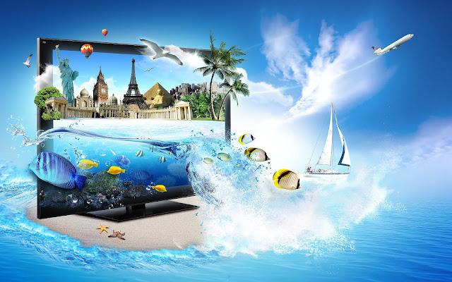 TV, blauw water en lucht waarin de beelden tot leven komen