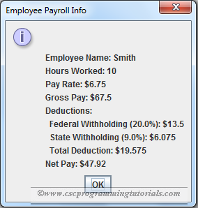 Exercise 2.27 solution - Java GUI Payroll Program