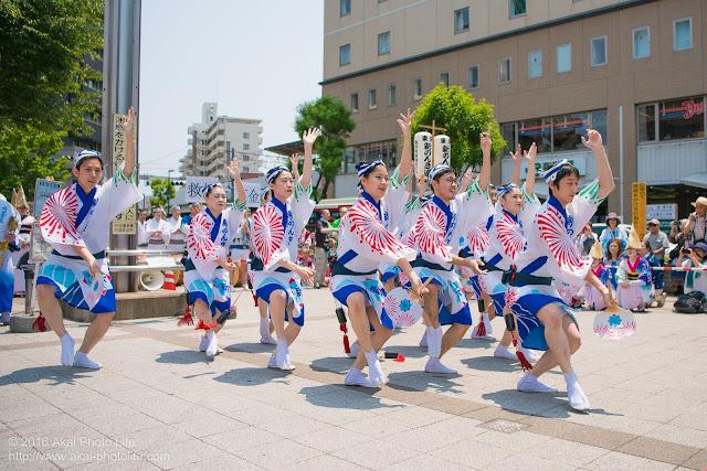 高円寺、熊本地震被災地救援募金チャリティ阿波踊り、東京新のんき連の舞台踊りの男踊りの踊り手の写真 5枚目