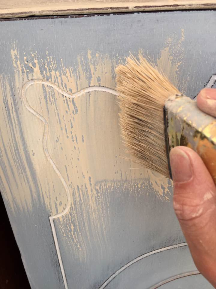Applying paint wash.