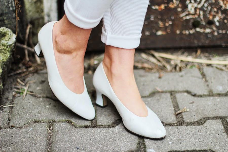 white shoes heels feminine style