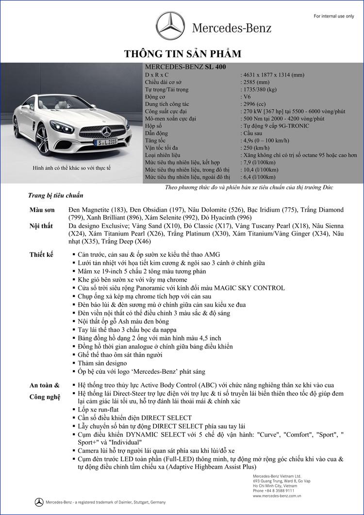 Bảng thông số kỹ thuật Mercedes SL 400 2018 tại Mercedes Trường Chinh