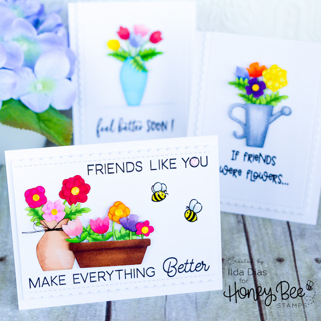 Honey Bee Stamps Bee Bold Honey Release: Final Day - Thank You Teacher Cards and A Bunch of Bouquet Cards by ilovedoingallthingscrafty