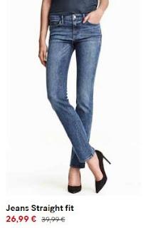 Jeans straight de cor escura em saldos na H&M (26,99 em vez de 39,99€)