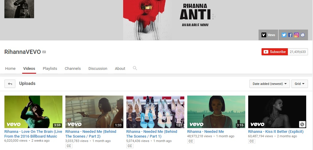 channel rihanna vevo