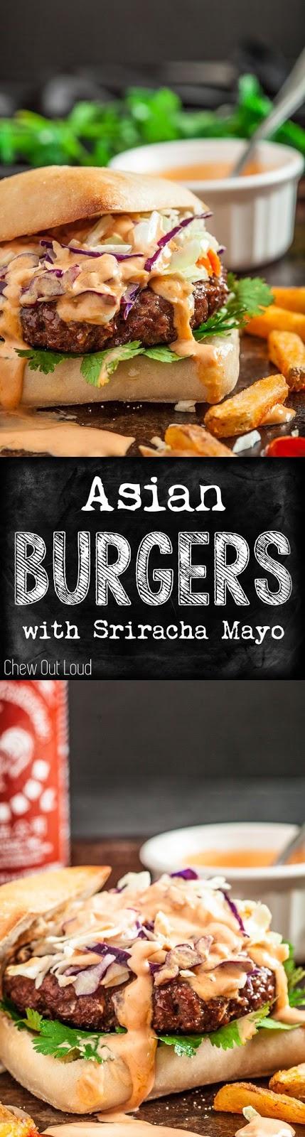ASIAN BURGERS WITH SRIRACHA MAYO