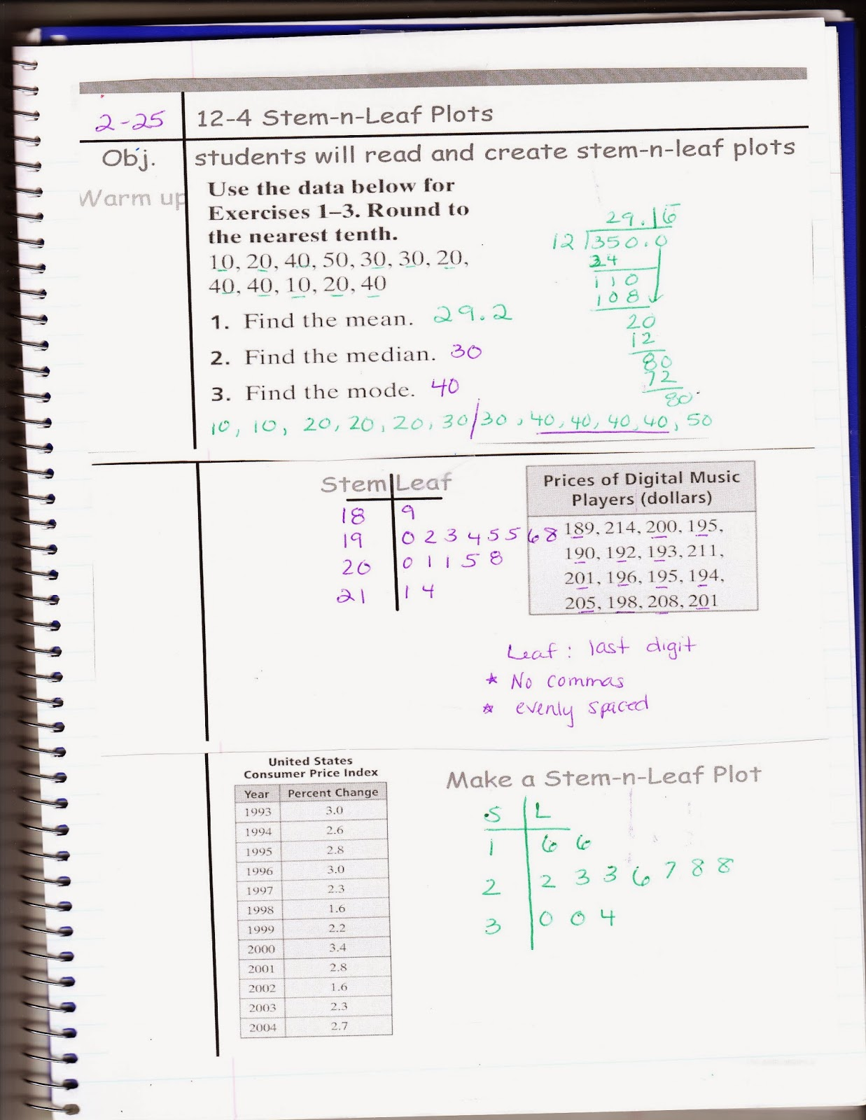 Ms Jean S Classroom Blog For Tuesday Feb 25 12 4 Stem And Leaf Plots