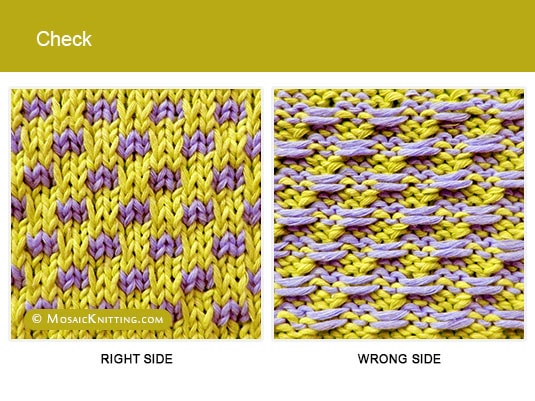 Mosaic Knitting - 2 Color Slip Stitch Pattern. Right side vs wrong side of the Check stitch.