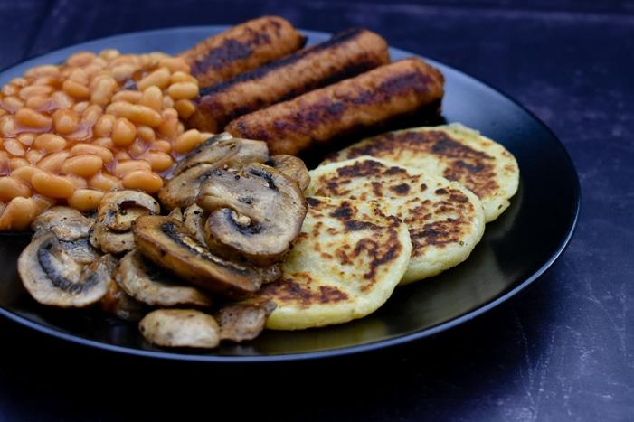 Scottish Potato Scones with a cooked veggie breakfast