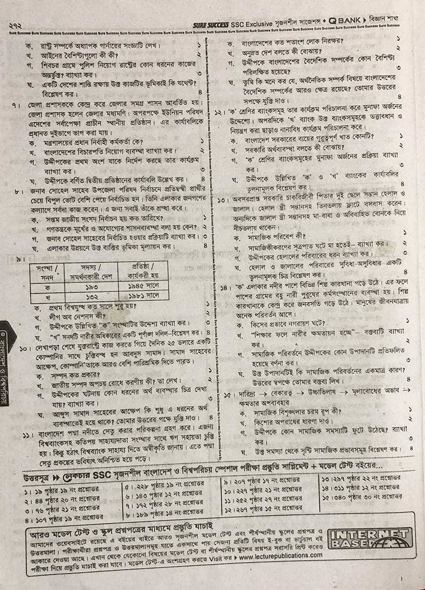 SSC Bangladesh and Global Studies Model Question