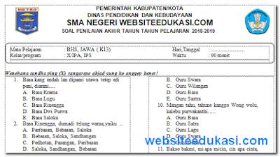 Soal PAT/UKK Bahasa Jawa Kelas 10 K13 Tahun 2019