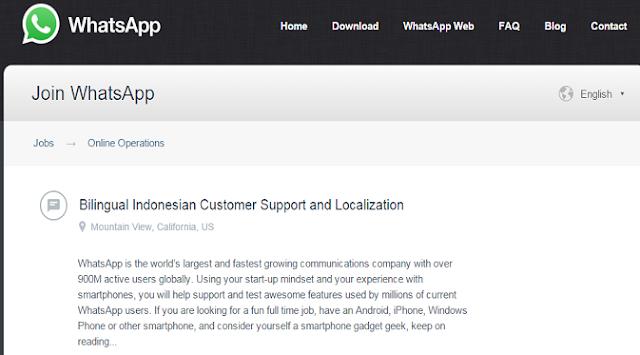 WhatsApp Buka Lowongan Kerja Untuk Orang Indonesia WhatsApp Buka Lowongan Kerja Untuk Orang Indonesia, Tertarik?