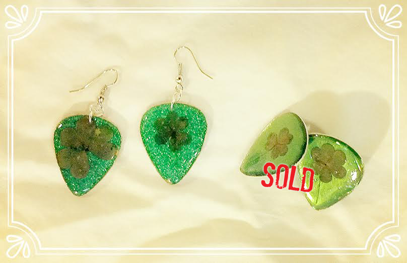St. Patrick's Day guitar pick jewelry made with real clovers