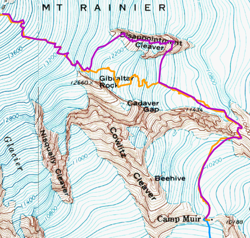 cleaver route is depicted in purple ingraham direct route is depicted in orange