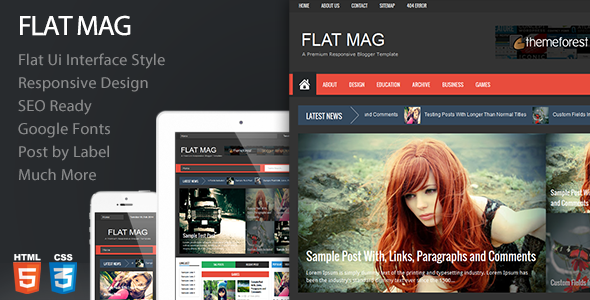 Flat Mag - Responsive Magazine Blogger Template