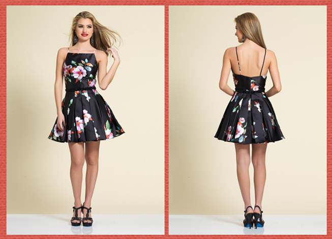 Short Printing Black Satin Prom Dress