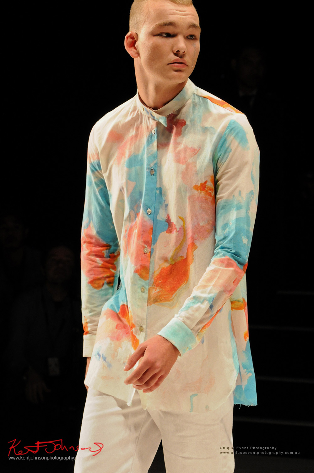 Menswear, watercolour shirt, DE LA MOTTE; Anne De La Motte - Designers from Raffles International Showcase 2016 - MBFWA  Photographed by Kent Johnson.