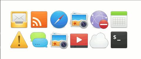 Contoh ikon-ikon yang terdapat dalam set ikon elementary