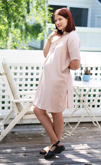 and other stories, stories.com, Blush, Shirt dress, maternity fashion, fashion blogger