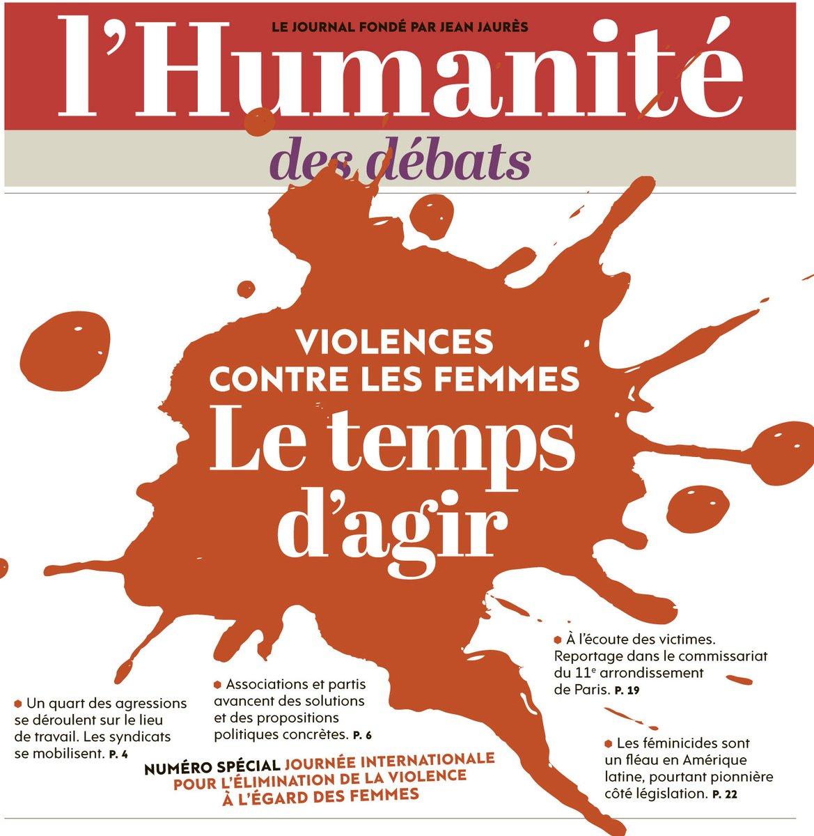 """24 11 2017  la Une de l Humanité numéro spécial """"Le temps d agir face aux violences faites aux femmes"""""""