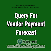 Query For Vendor Payment Forecast, AskHareesh.blogspot.com