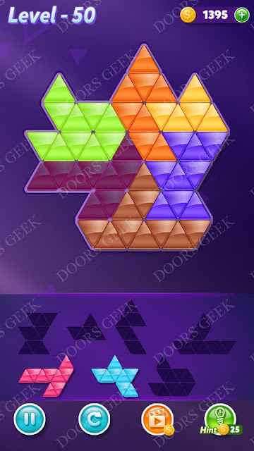 Block! Triangle Puzzle Intermediate Level 50 Solution, Cheats, Walkthrough for Android, iPhone, iPad and iPod