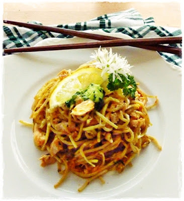wild garlic noodles with leftover salmon