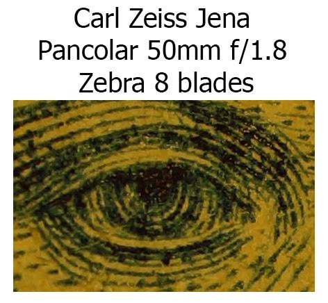 Carl Zeiss Jena Pancolar 50mm f/1.8 Zebra M42 8 blades