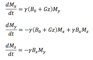 The Bloch equations describing the magnetization during slice selection in magnetic resonance imaging.