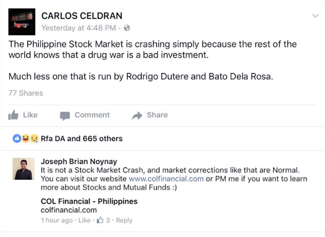 Financial Analyst Slams Netizen's Remark Blaming Government's Drug War On The Fall Of PH Stock Market