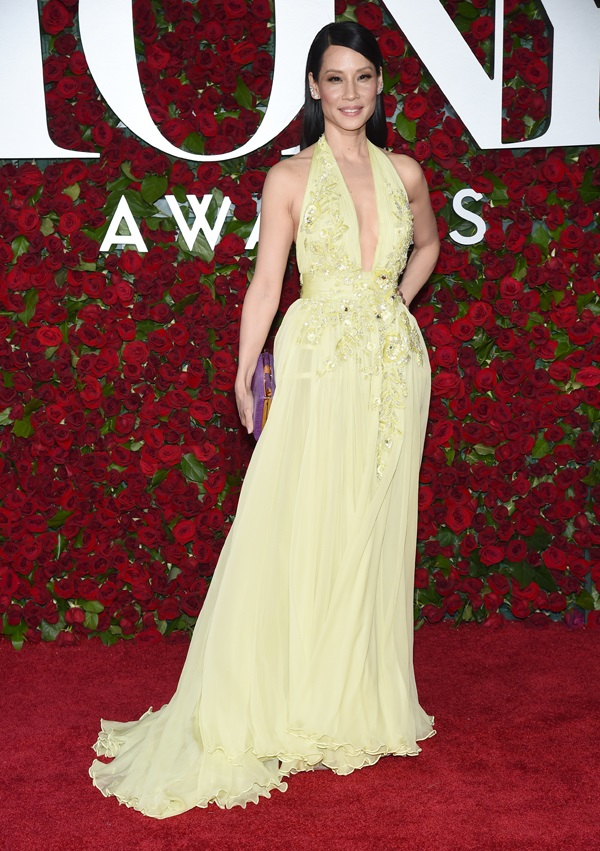 Lucy Liu goes for a saucy plunge for the 2016 Tony Awards in NY