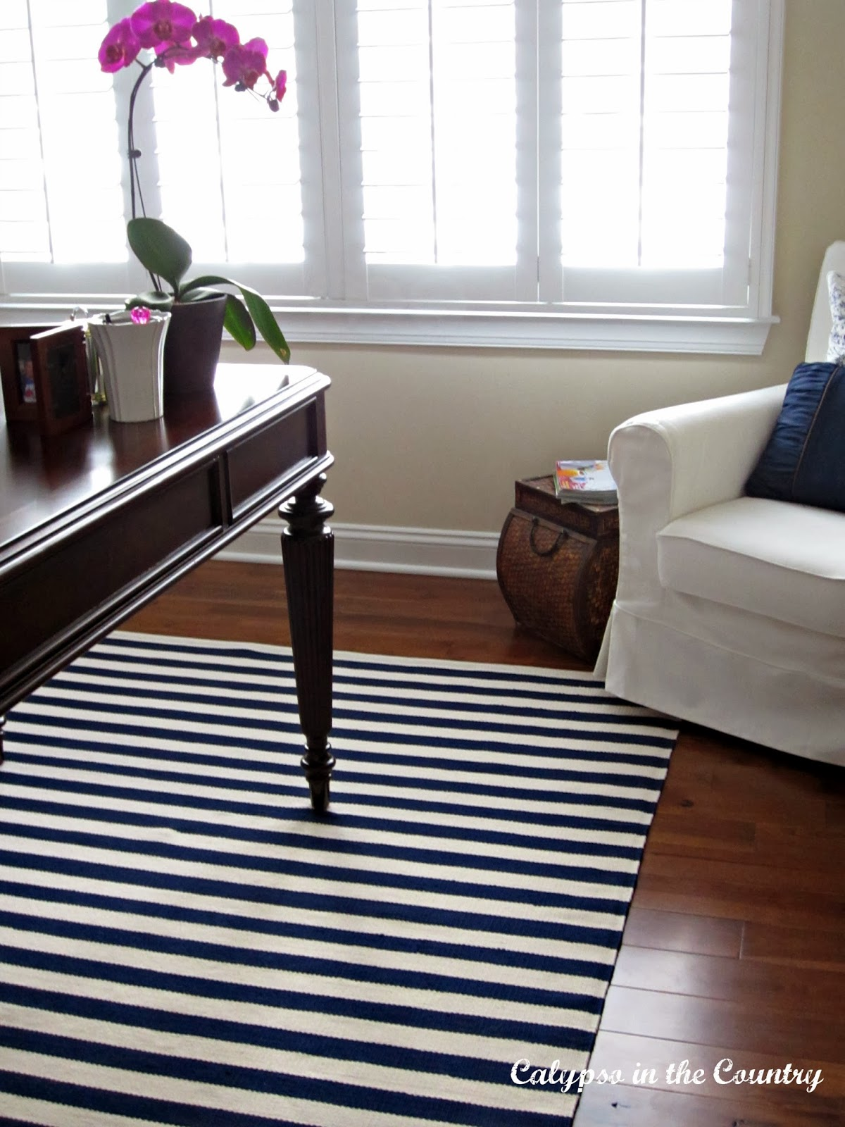 Dash and Albert blue and white striped rug in my updated home office