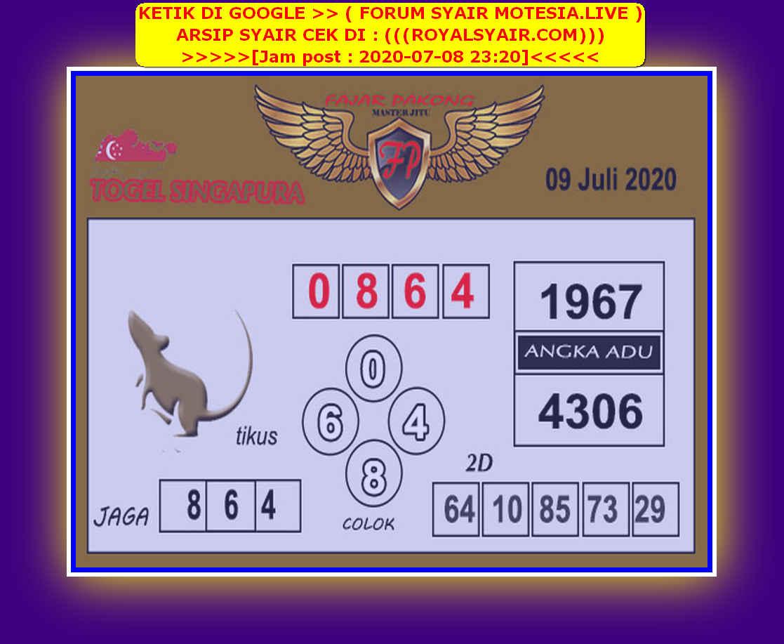 Kode syair Singapore Kamis 9 Juli 2020 234