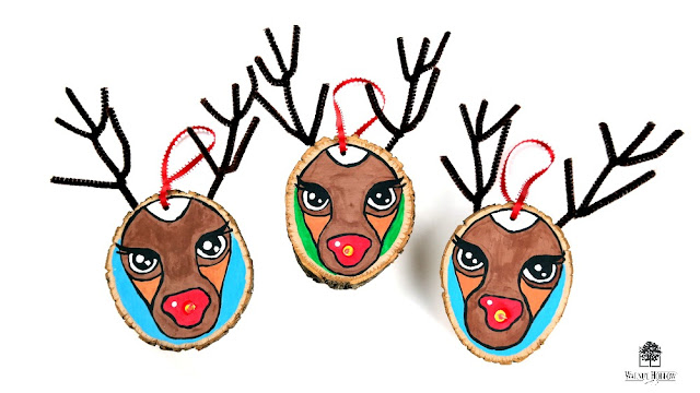 Light-Up Wood Slice Rudolph Reindeer Ornaments by Dana Tatar for Walnut Hollow