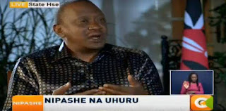 President Kenyatta in an exclusive interview with Citizen TV. PHOTO | Courtesy