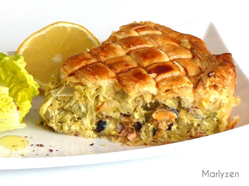 Tourte bretonne (poireaux, saumon et fruits de mer)