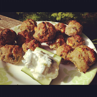 Easy Summer Recipes include these Greek Meatballs with Tzatziki Sauce. Get the recipe on basilmomma.com