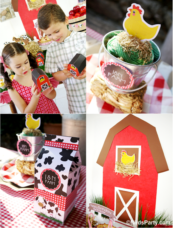 Farm and Barnyard Birthday Party Party Favor Boxes and Backdrop - BirdsParty.com