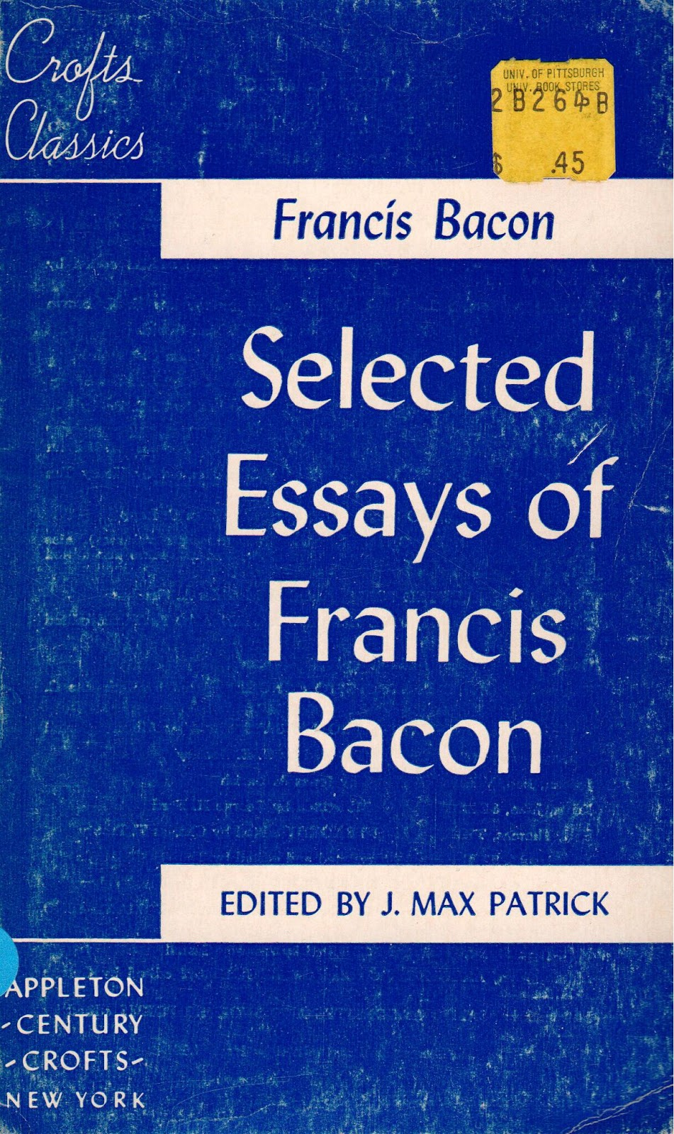 problems with bacons essays Says hudson regarding bacon's essays he shows an extraordinary insight regarding the problems that men face in life but his wisdom is only.