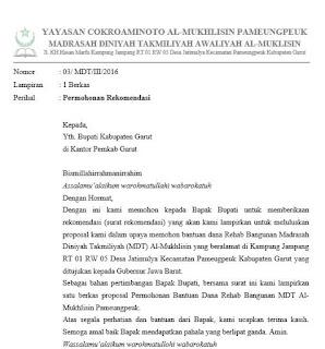 contoh surat permohonan rekomendasi bupati untuk mengajukan rehab bangunan madrasah