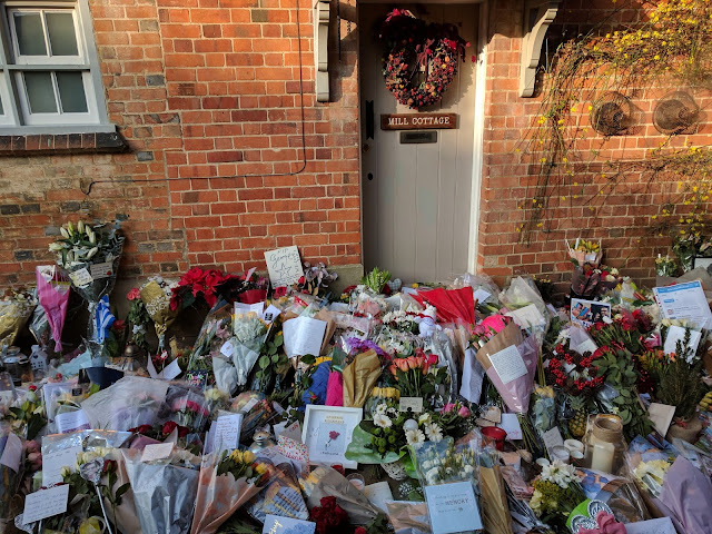 Letters outside George Micahel's home