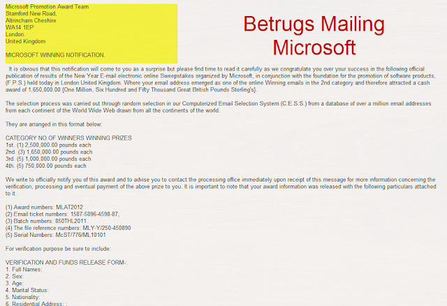 microsoft award winning scam betrugs email