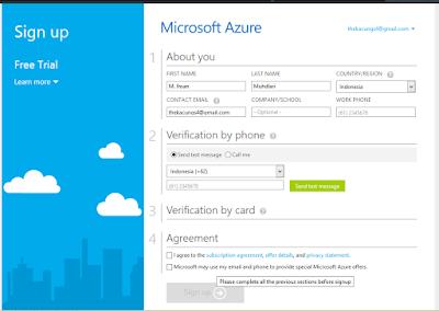 Cara Mendaftar Ke Windows Azure - VPS Gratis Dari Azure