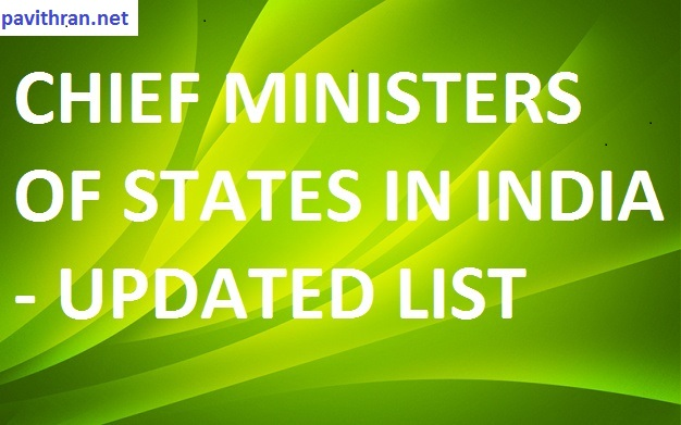 Chief Minister Of States In India - Updated List 2019