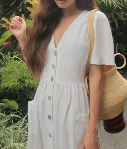 High-Waist Buttoned Front Midaxi Dress