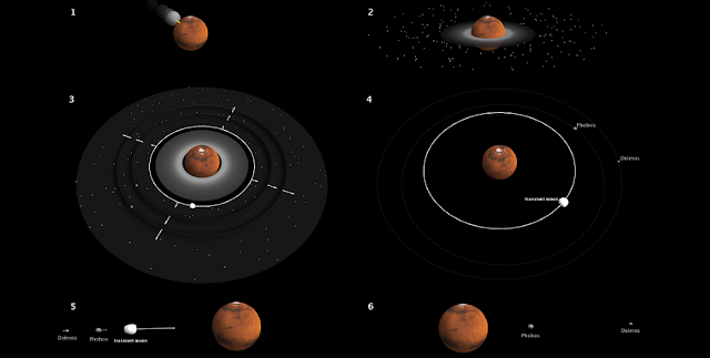 "(Top) Mars is violently hit by a proto-planet three times as small. The debris form a disc in a few hours. (Middle) A large moon rapidly emerges from the disc close to the planet. As it migrates away from Mars, its two zones of (so-called ""resonant"") influence propagate like ripples, facilitating accretion of debris further away into two small satellites, Phobos and Deimos, in a few thousand years. (Bottom) Due to tides raised by Mars, the large moon falls back to Mars in a few million years, while the smaller Phobos and Deimos reach their present position around Mars within the next billion years.Credit: A. Trinh/Royal Observatory of Belgium"