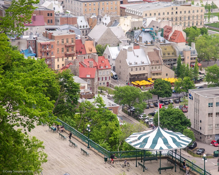 Quebec City Canada June 2018 photo by Corey Templeton. Part of Vieux Quebec from above the Terrasse Dufferin.
